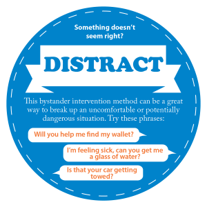 Something doesnt seem right? Distract. This bystander intervention method can be a great way to break up an uncomfortable or potentially dangerous situation. Try these phrses: Will you help me find my phone? Im feeling sick, can you get me a glass of water? Don't we have a class together?