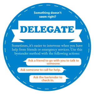 Something doesn't seem right? Delegate. Sometimes, it's easier to intervene when you have help from friends or emergency services. Use this bystander method with the following actions: Ask a friend to go with you to talk to someone. Ask someone to call for help. Ask the bartender to check in.